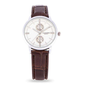 Valentino 20122142-BRWN STRAP - WHITE DIAL Brown Leather Strap Watch for Women