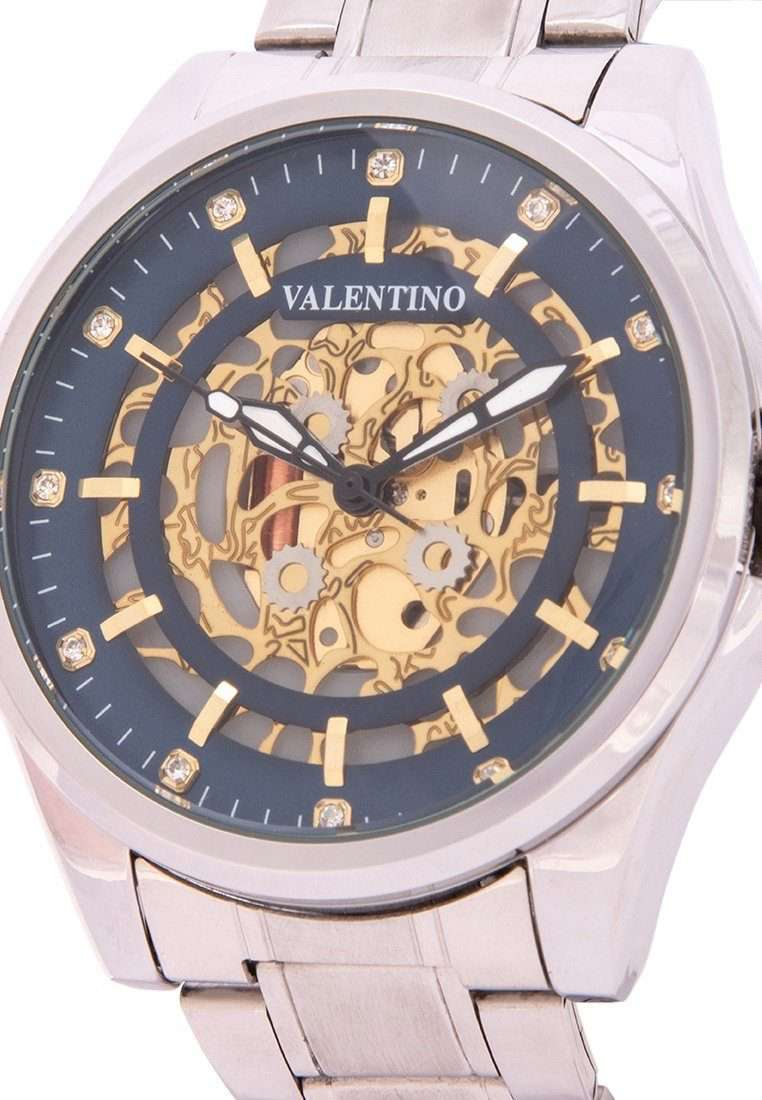 Valentino 20122143-BLUE DIAL Silver Stainless Steel Band Watch for Men