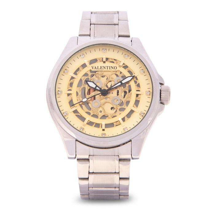 Valentino 20122143-GOLD DIAL Silver Stainless Steel Band Watch for Men