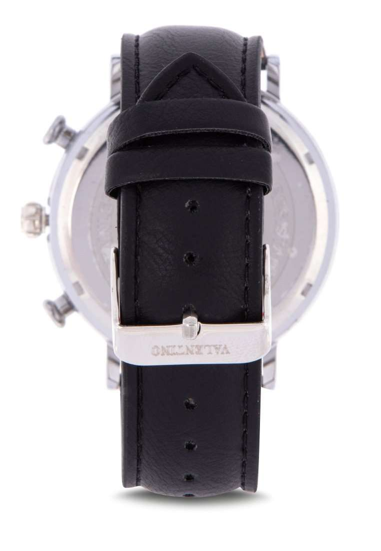 Valentino 20122147-BLK STRAP - BLACK DIAL Black Leather Strap Watch for Men