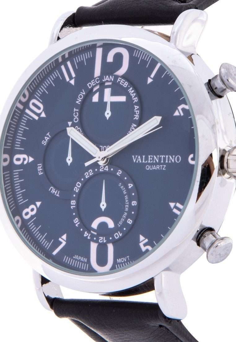 Valentino 20122147-BLK STRAP - BLUE DIAL Black Leather Strap Watch for Men