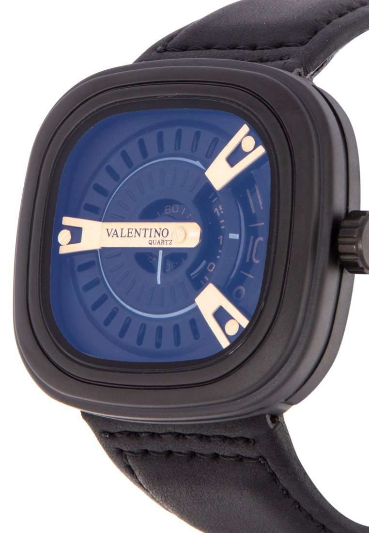 Valentino 20122151-BLK STRAP - BLK CASE - GOLD INDEX Black Leather Strap Watch for Men
