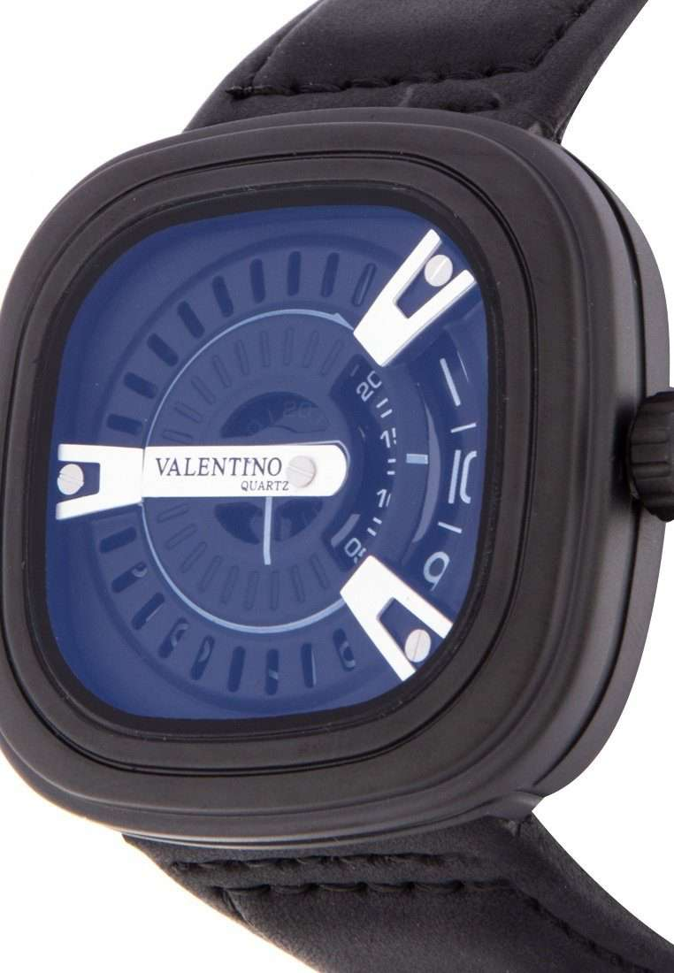 Valentino 20122151-BLK STRAP - BLK CASE - SILVER INDEX Black Leather Strap Watch for Men