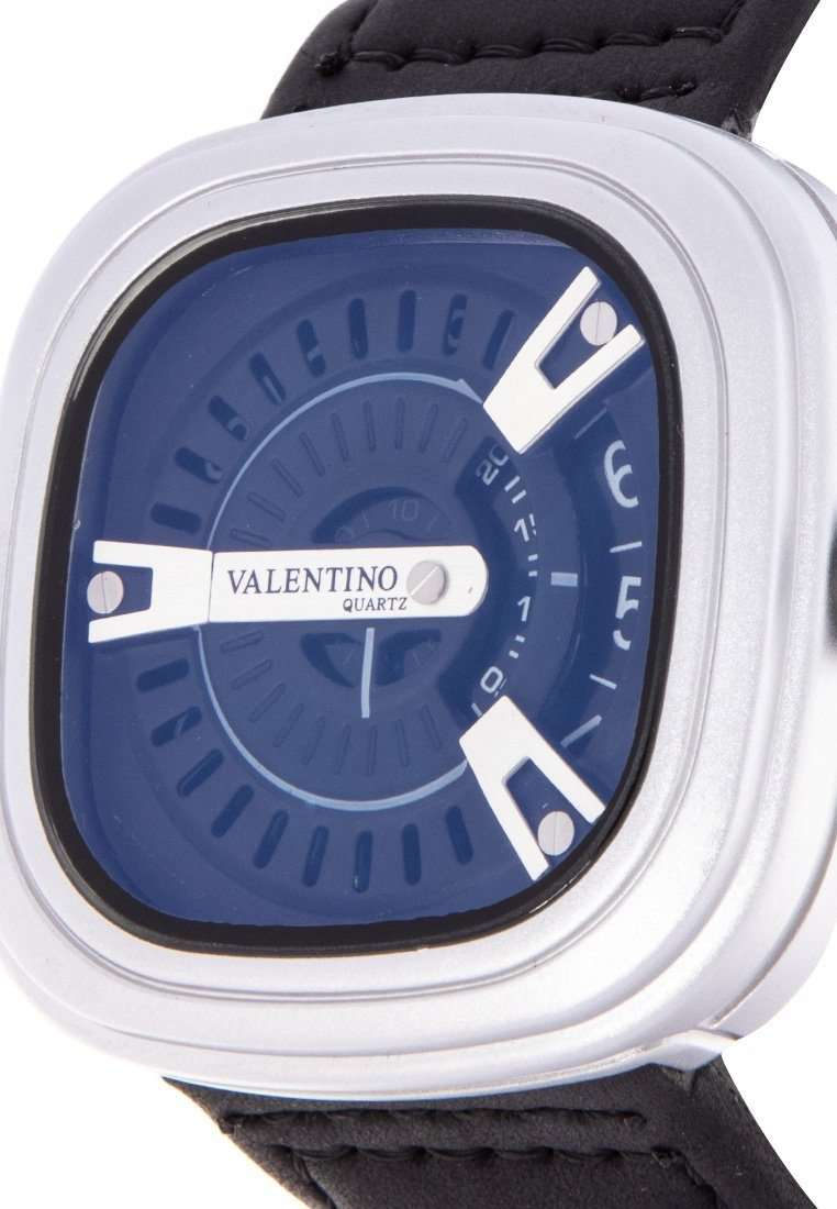 Valentino 20122151-BLK STRAP - SIL CASE - SILVER INDEX Black Leather Strap Watch for Men