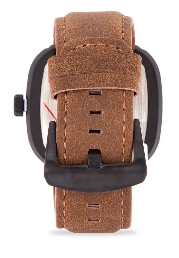 Valentino 20122151-BRWN STRAP - ROSE GOLD INDEX Brown Leather Strap Watch for Men