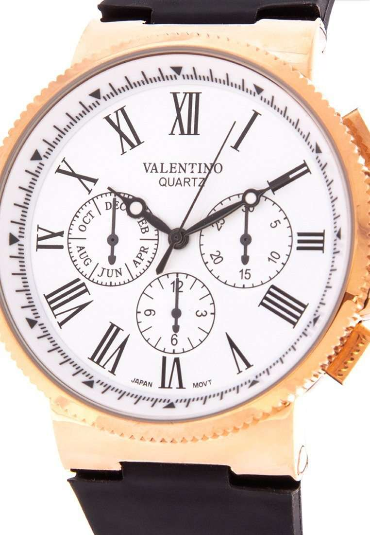 Valentino 20122152-WHITE DIAL Black Leather Strap Watch for Men