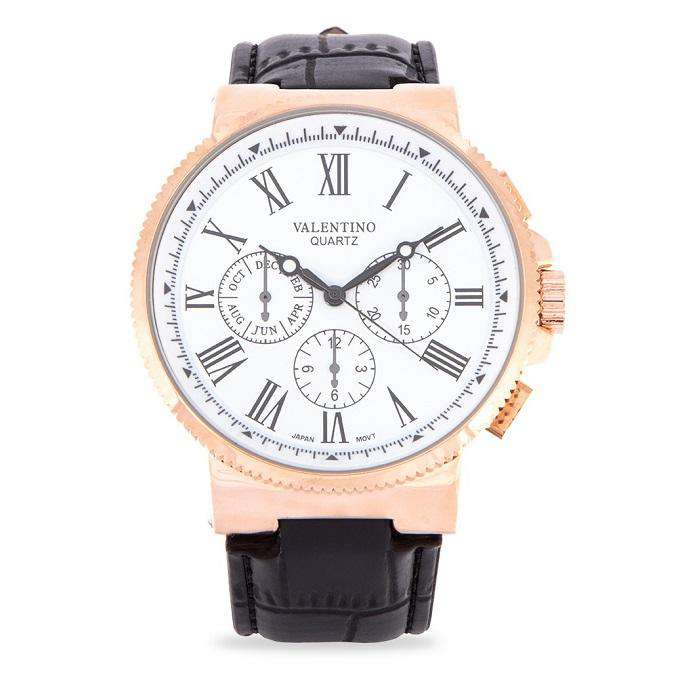 Valentino 20122153-WHITE DIAL Black Leather Strap Watch for Men
