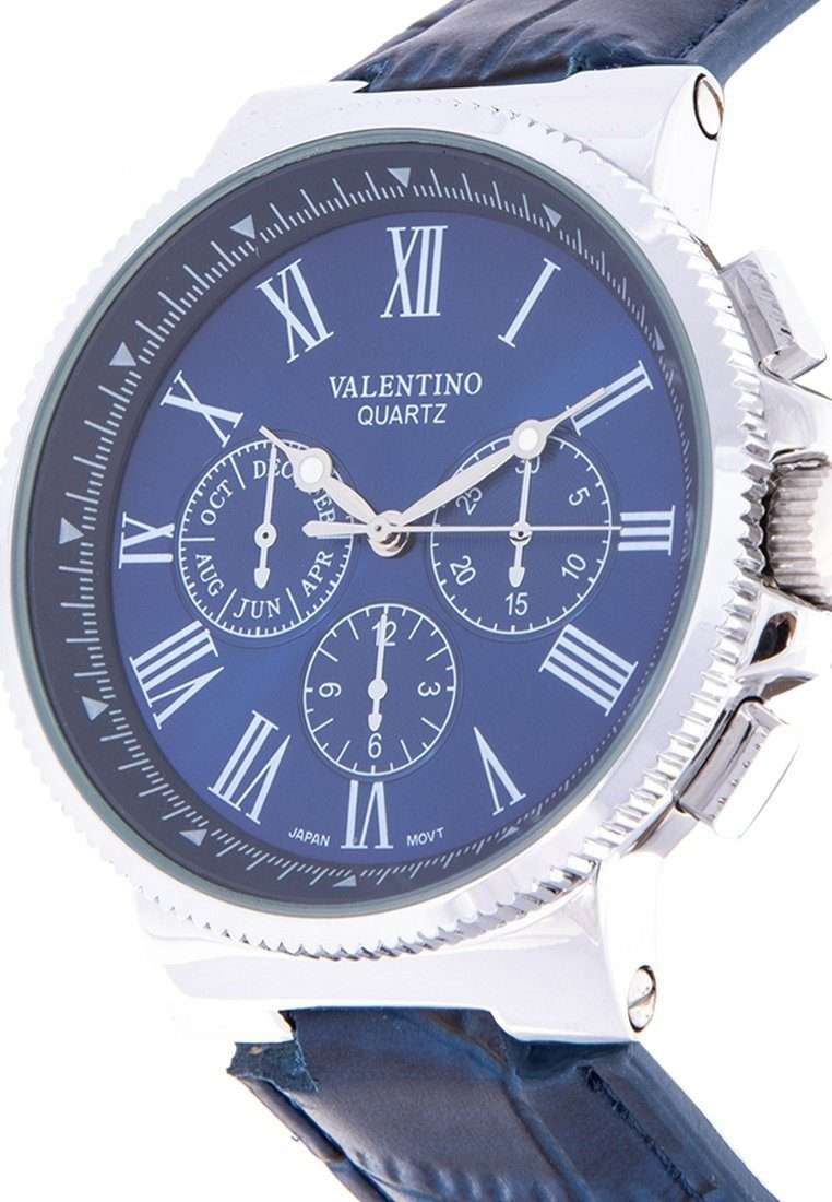 Valentino 20122154-BLUE DIAL - WHITE INDEX Blue Leather Strap Watch for Men