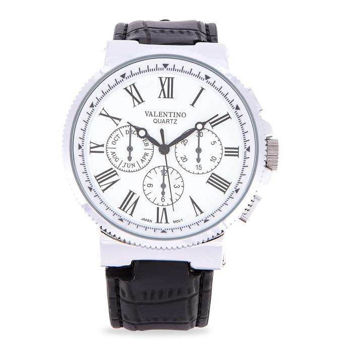 Valentino 20122154-WHT DIAL - BLACK INDEX Black Leather Strap Watch for Men