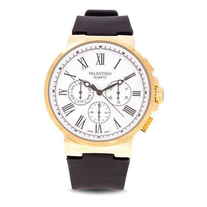 Valentino 20122155-WHITE DIAL Black Rubber Strap Watch for Men