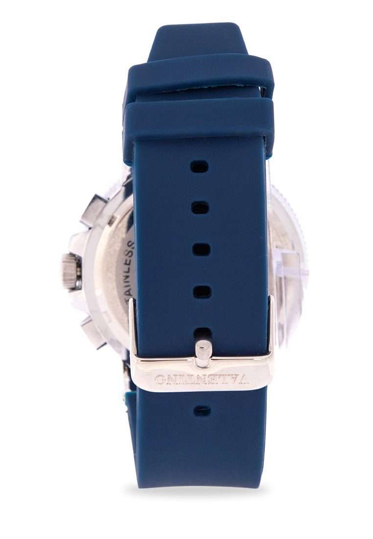 Valentino 20122157-WHT DIAL - BLUE INDEX Blue Rubber Strap Watch for Men