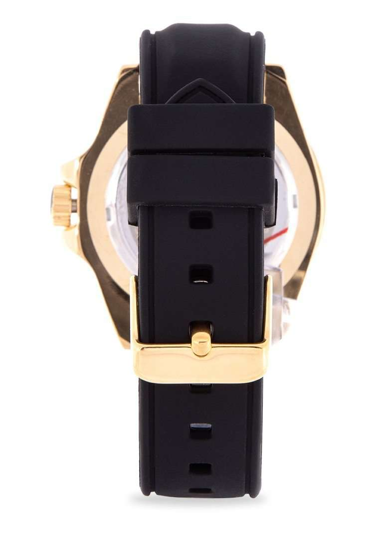 Valentino 20122158-GOLD CASE Black Rubber Strap Watch for Men