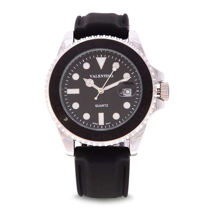 Valentino 20122160-SILVER CASE Black Rubber Strap Watch for Men