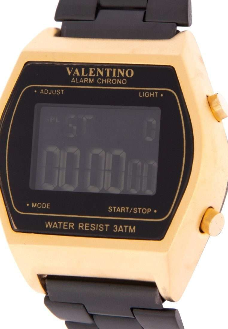 Valentino 20122168-BLACK DIAL Black Stainless Steel Band Watch for Men and Women