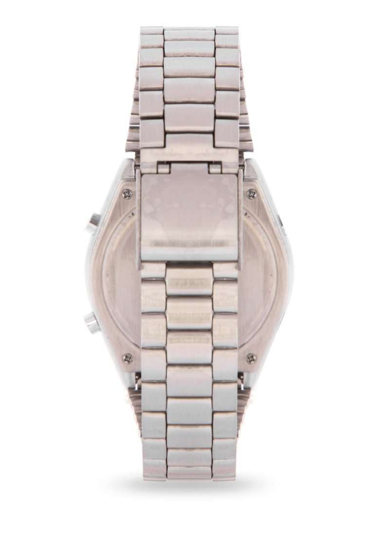 Valentino 20122171-BLACK SCREEN Silver Stainless Steel Band Watch for Men and Women
