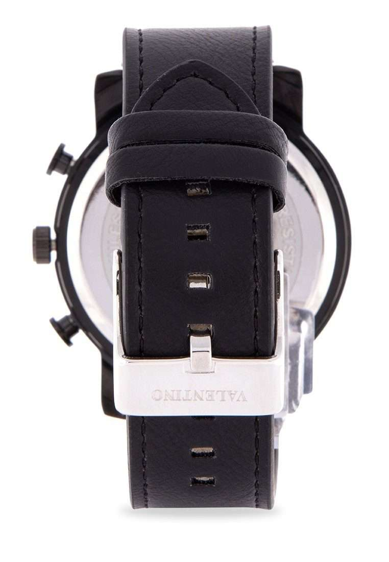Valentino 20122175-BLK CASE - BLACK DIAL Black Leather Strap Unisex Watch