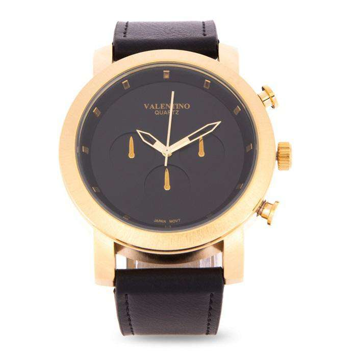 Valentino 20122175-GOLD CASE - BLACK DIAL Black Leather Strap Unisex Watch