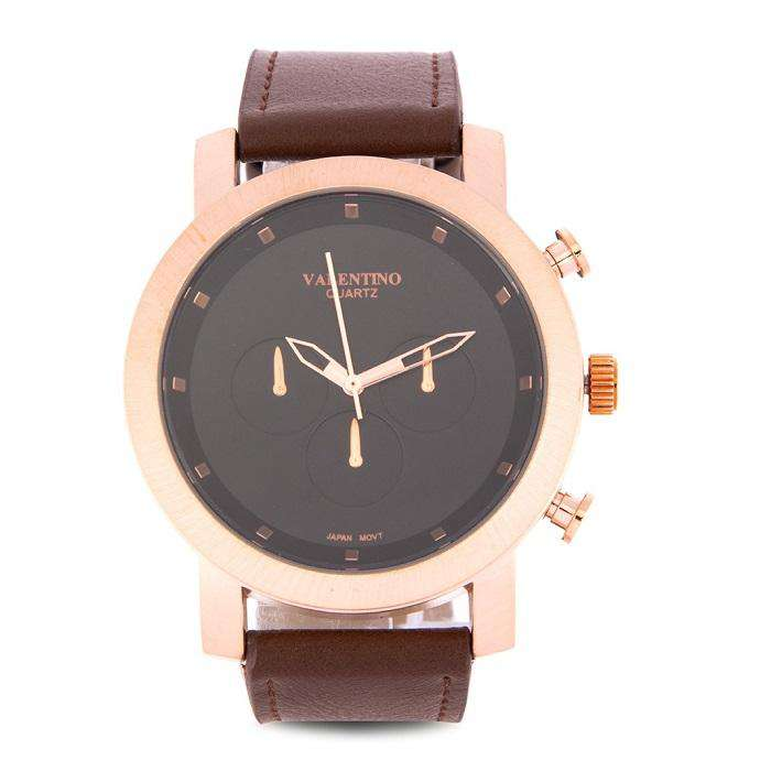 Valentino 20122176-BLACK DIAL Brown Leather Strap Unisex Watch