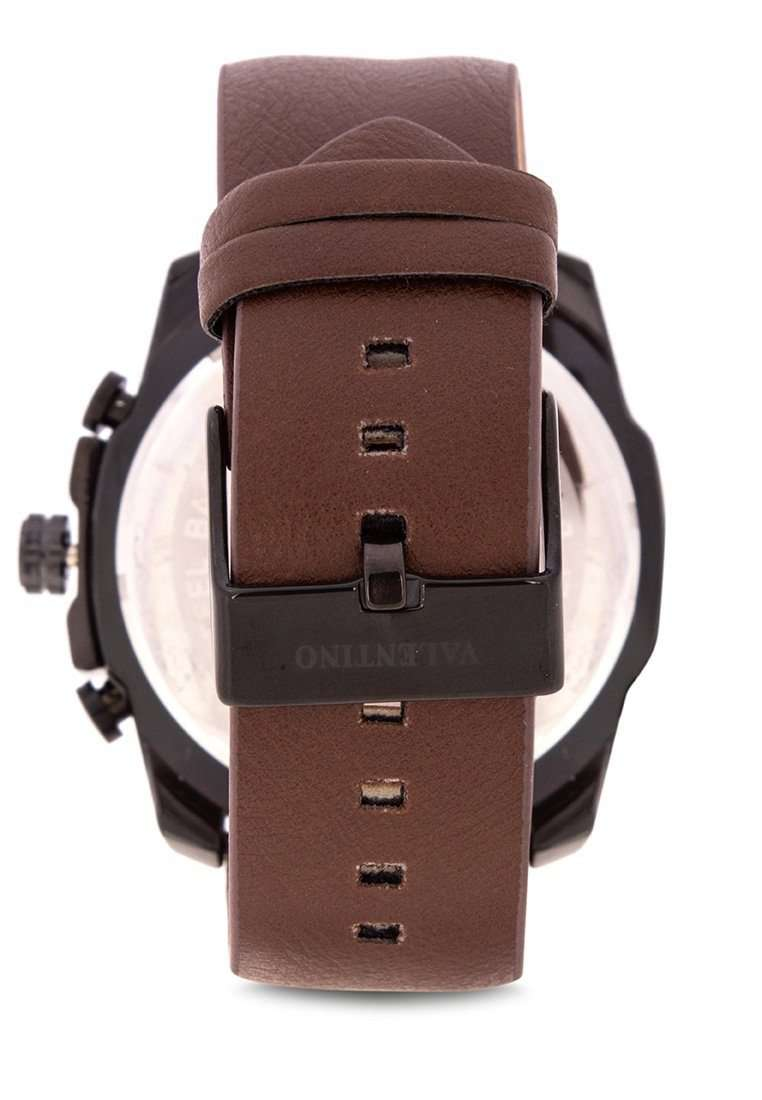 Valentino 20122182-BLACK CASE Brown Leather Strap Watch for Men