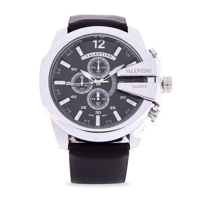 Valentino 20122183-BLACK DIAL Black Leather Strap Watch for Men