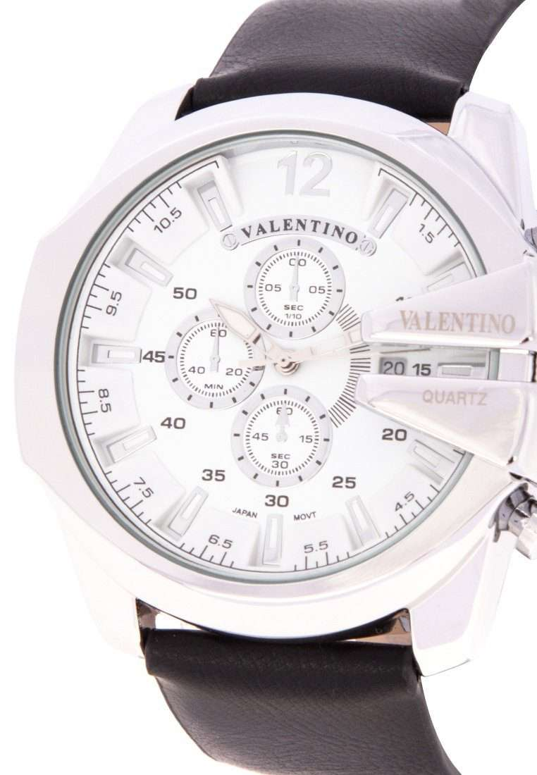 Valentino 20122183-WHITE DIAL Black Leather Strap Watch for Men