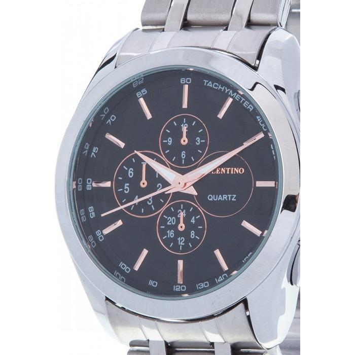 Valentino 20121983-BLACK-ROSE INDEX SILVER STAINLESS STRAP Watch for Men