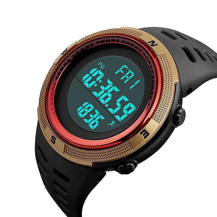 SKMEI DG1349 Black/Gold/Red with PU Strap Watch For Men