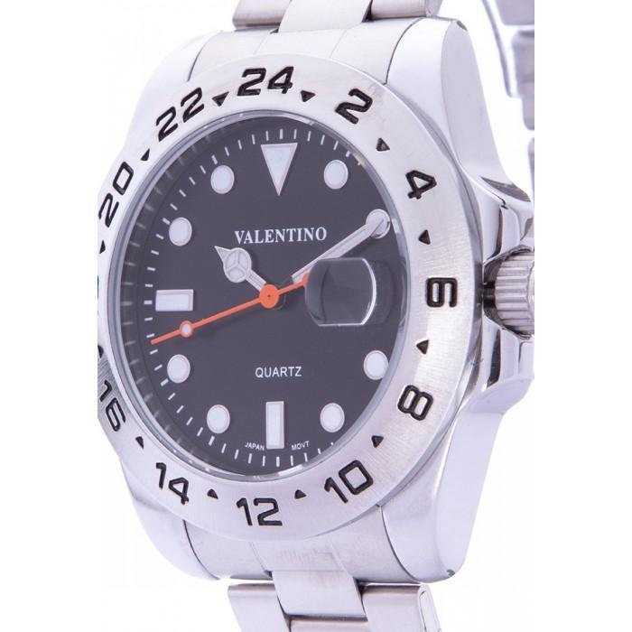 Valentino 20122020-BLACK DIAL SILVER STAINLESS STEEL STRAP Watch for Men