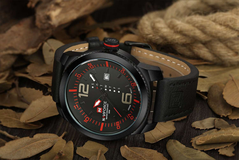 Naviforce NF9063-BRB Leather Strap Mens Watch