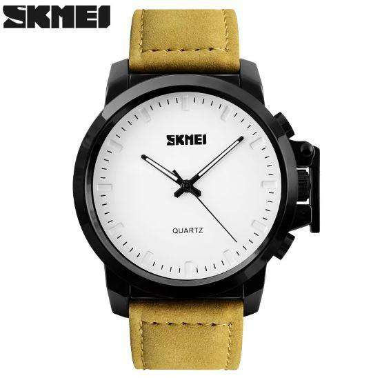 SKMEI 1208CL White with Yellow Green Leather Strap Watch for Men