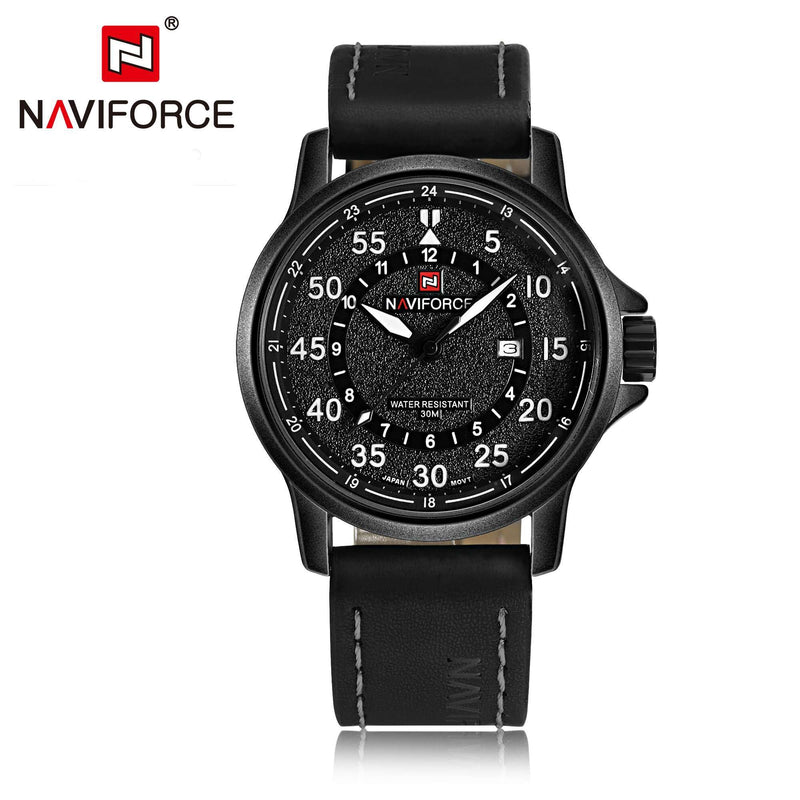 Naviforce NF9076-BWB Leather Mens Watch