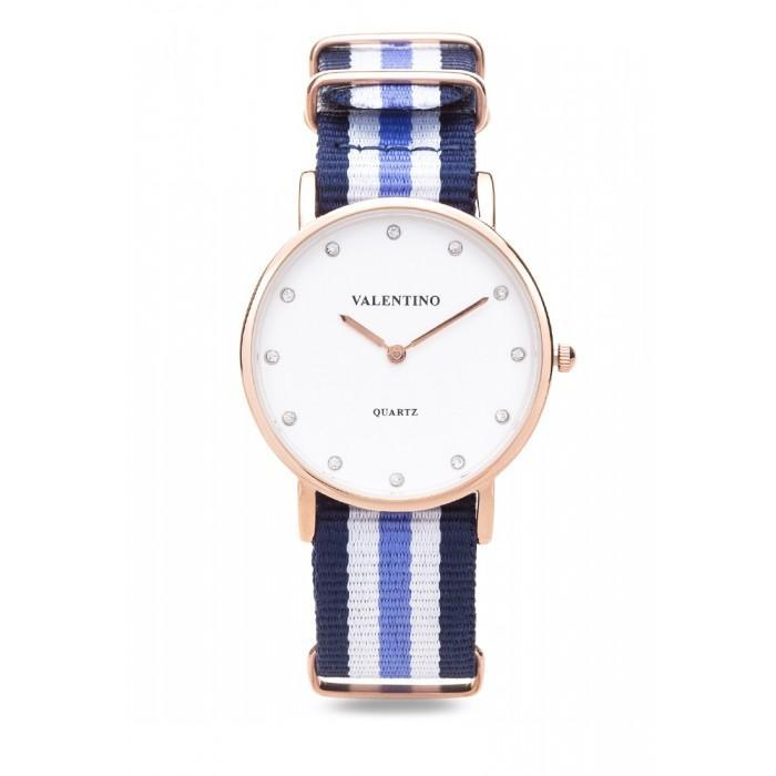Valentino 20121902-DBLUE WHT BLUE - STONE D WELLINGTON RG L  NYLON STRAP Watch For Women - Watchportal Philippines