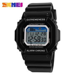 SKMEI 6918 Black Unisex Plastic Strap Sports Watch