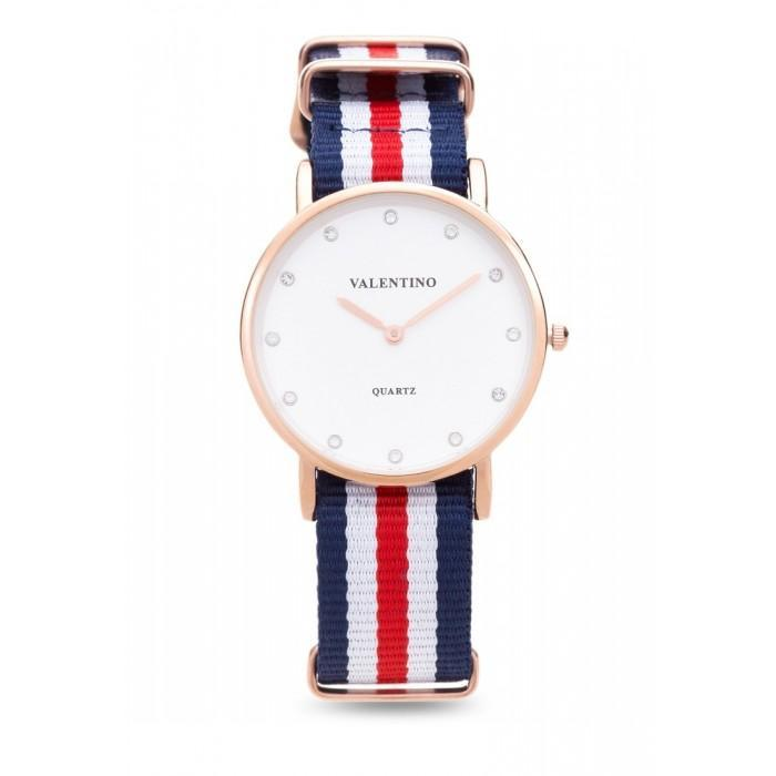 Valentino 20121902-DBLUE WHT RED - STONE D WELLINGTON RG L  NYLON STRAP Watch For Women - Watchportal Philippines