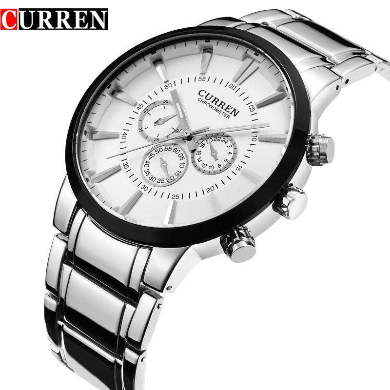 Curren 8001A-1-Silver/Black/White Stainless Steel Watch