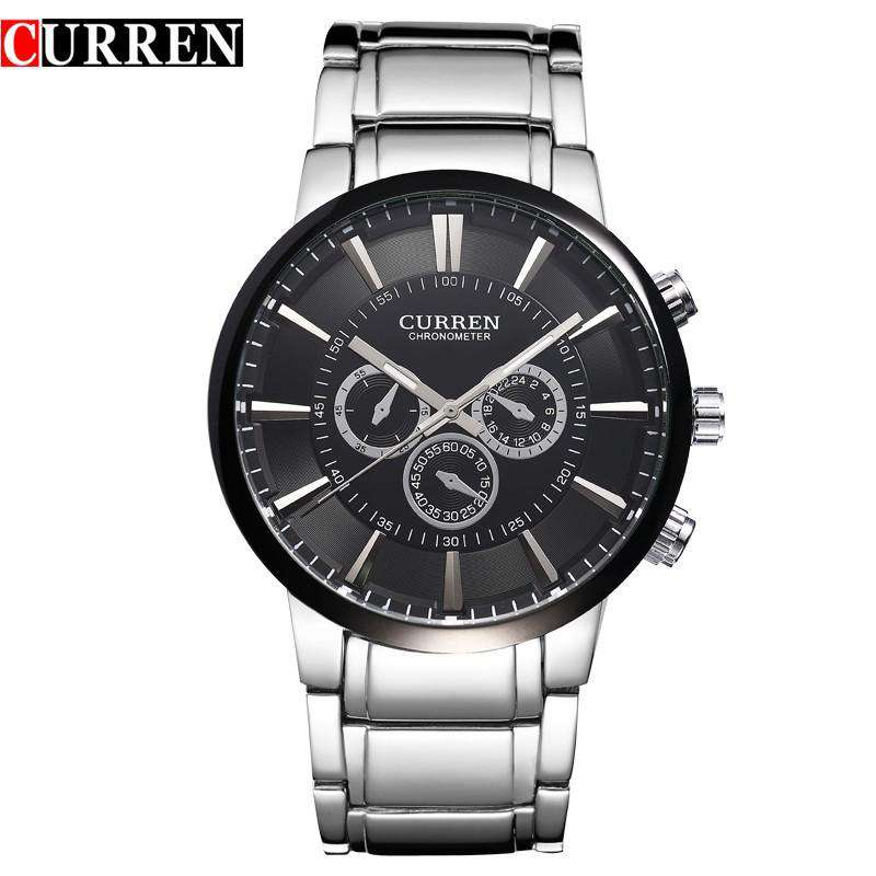 Curren 8001A-2-Silver/Black/Black Stainless Steel Watch