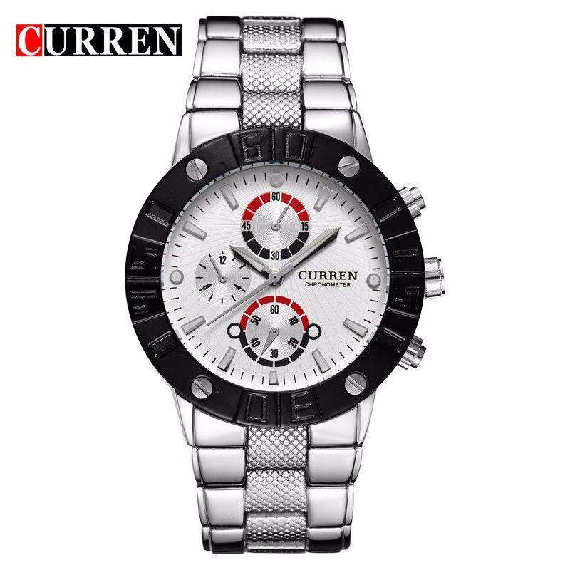 Curren 8006-1-Silver/Black/White Stainless Steel Watch