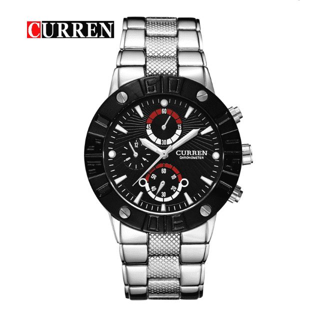 Curren 8006-2-Silver/Black/Black Stainless Steel Watch