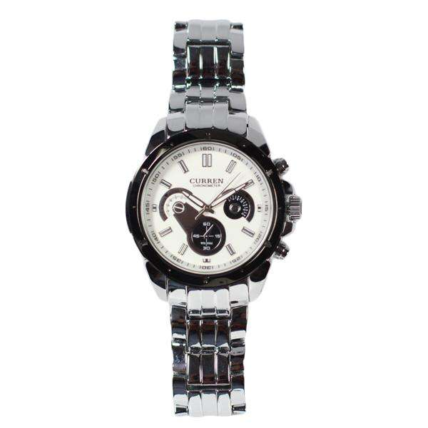 Curren CN8009-1-Silver/Black/White Stainless Steel Watch for Men