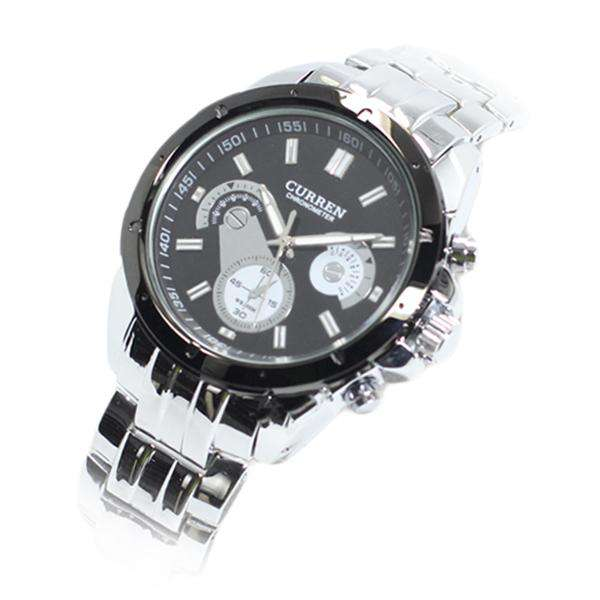 Curren CN8009-2-Silver/Black/Black Stainless Steel Watch