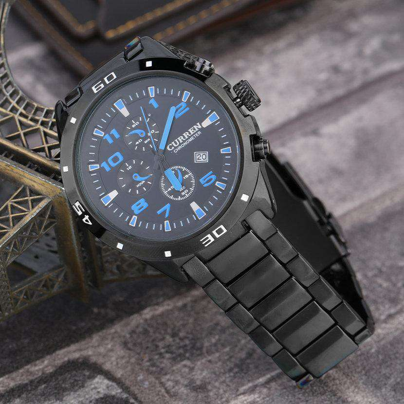 Curren 8021D-4-Black/Black/Blue Stainless Steel Watch