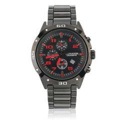 Curren 8021D-3-Black/Black/Red Stainless Steel Watch