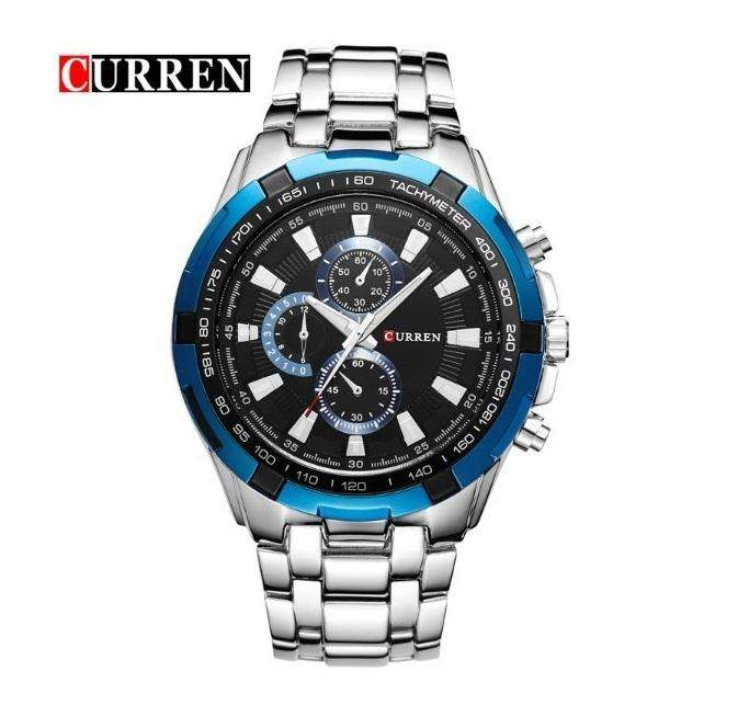 Curren 8023-6-Silver/Blue/Black Stainless Steel Watch