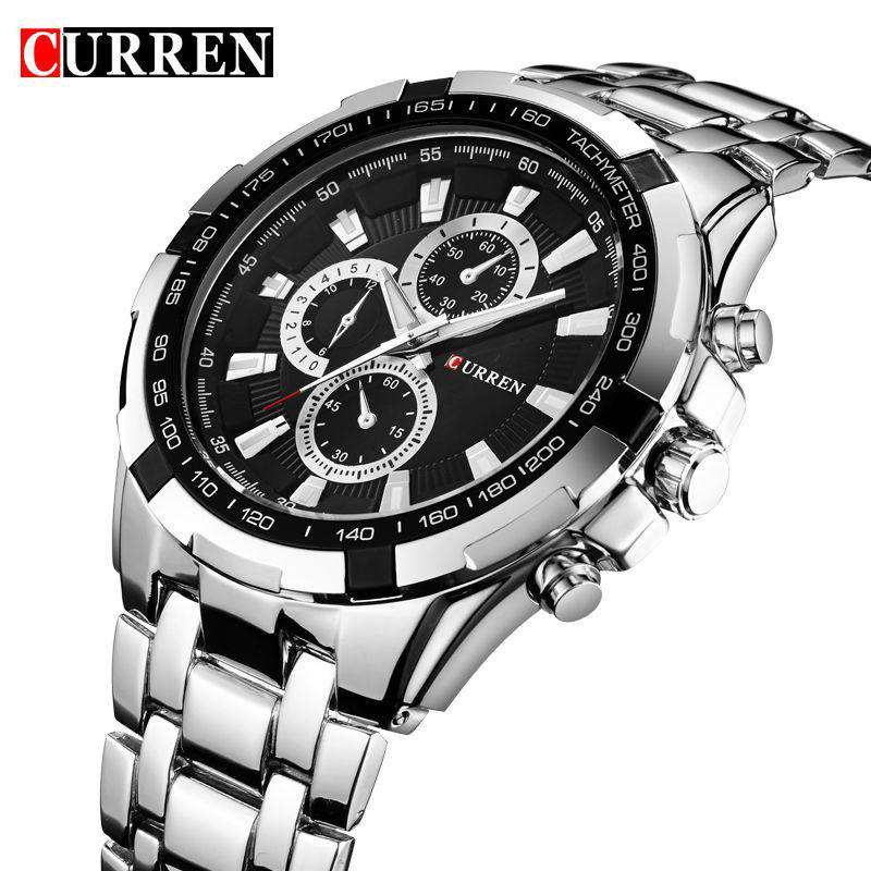 Curren 8023-2-Silver/Black Stainless Steel Watch