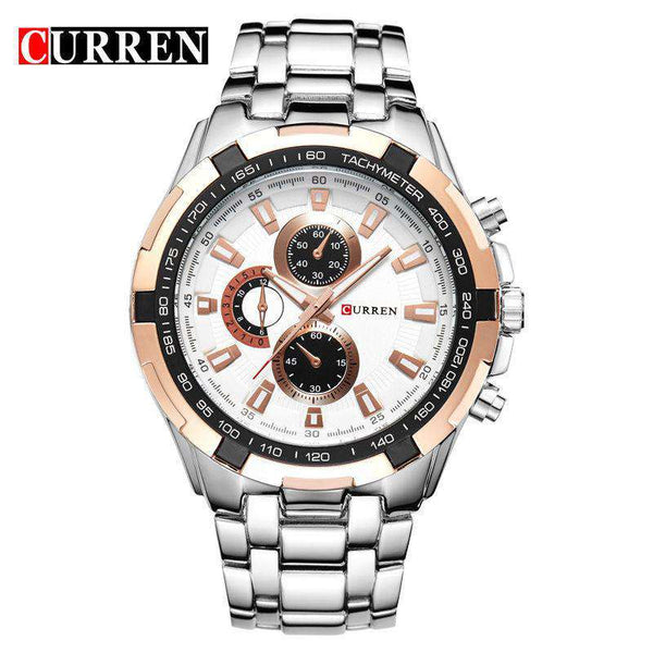 Curren 8023-8-Silver/Gold/White Stainless Steel Watch