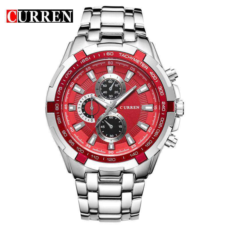 Curren 8023-7-Silver/Red Stainless Steel Watch