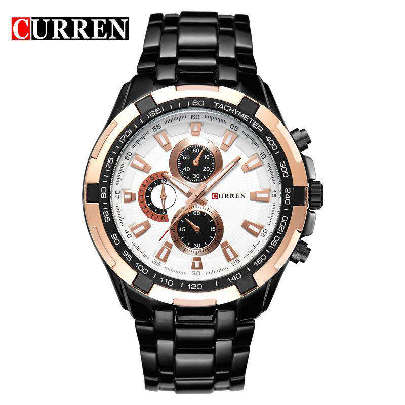 Curren 8023-4-Black/Gold/White Stainless Steel Watch