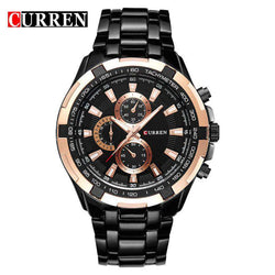 Curren 8023-5-Black/Gold/Black Stainless Steel Watch