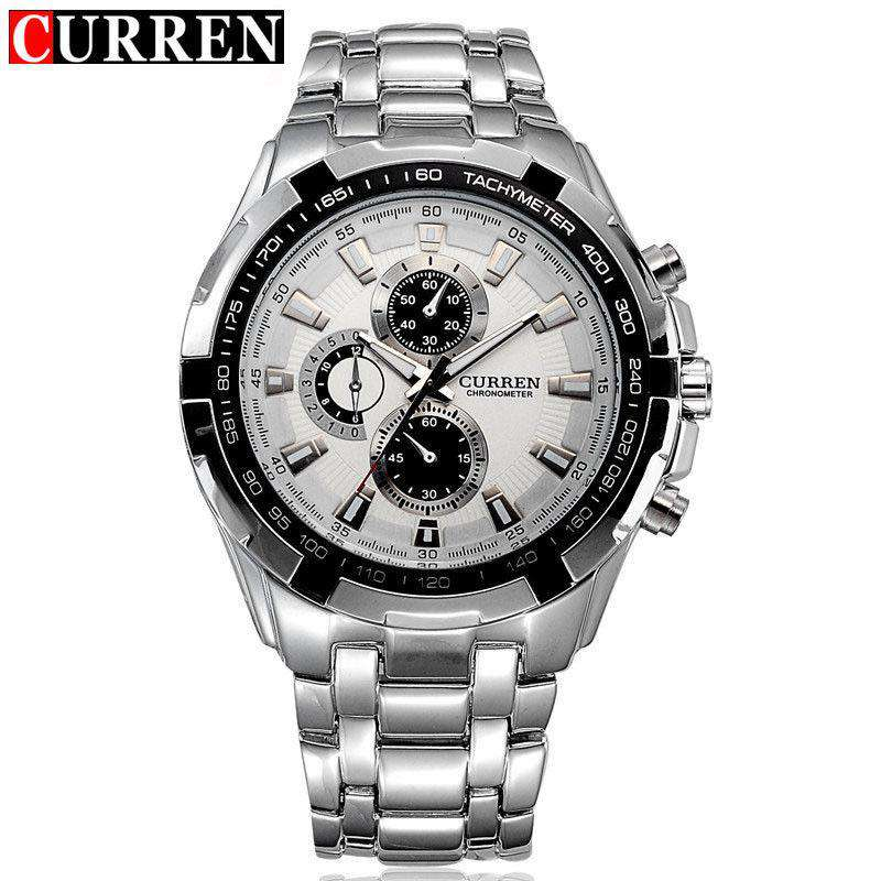 Curren 8023-1-Silver/White Stainless Steel Watch