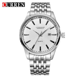 Curren 8052D-1-Silver/White Stainless Steel Watch